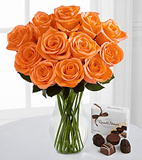Autumn Brilliance Orange Rose Bouquet with FREE Chocolates - 12 Stems - VASE INCLUDED