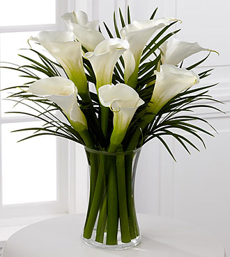 endless elegance calla lily bouquet 8 stems u003d vase included
