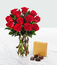 Valentineu0027s Red 1 Dozen Long Stem Roses With Chocolate   VASE INCLUDED