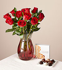 One Dozen Red Rose Bouquet and Chocolates Gift Set