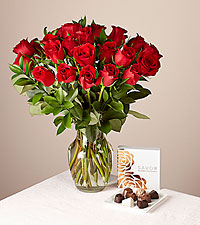 24 Red Rose Bouquet and Chocolates Gift Set