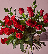 24 Long Stem Red Roses with Glass Vase