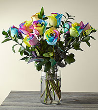 Time to Celebrate Rainbow Rose Bouquet-VASE INCLUDED