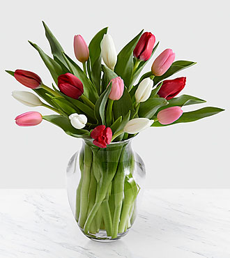 Here in My Heart Tulip Bouquet - 15 Stems - VASE INCLUDED
