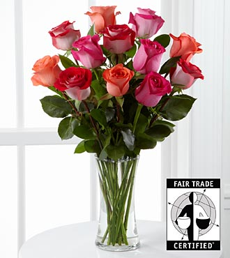 New Day Dawning Fair Trade Rose Bouquet - 12 Stems - VASE INCLUDED