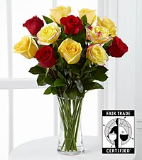 Sunshine Kisses Fair Trade Rose Bouquet - 12 Stems - VASE INCLUDED
