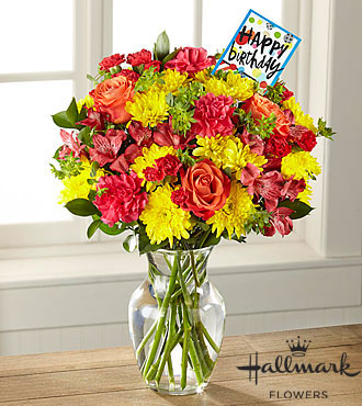 The FTD® Bright and Happy Birthday Bouquet by Hallmark- VASE INCLUDED