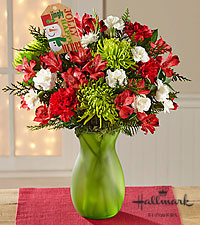 The FTD® Holly Jolly Holiday Bouquet by Hallmark - VASE INCLUDED