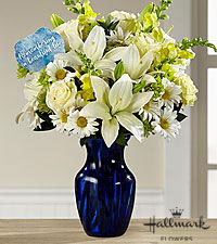 The FTD® Beautiful Life Sympathy Bouquet by Hallmark - Blue & White