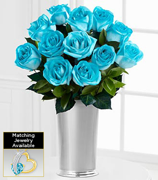 Floral Jewels™ March Aquamarine Birthstone Bouquet - 12 Stems - VASE INCLUDED