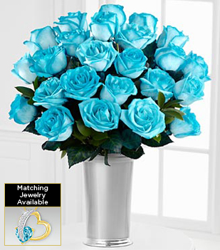 Floral Jewels™ March Aquamarine Birthstone Bouquet - 24 Stems - VASE INCLUDED