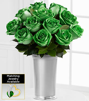 Floral Jewels™ May Emerald Birthstone Bouquet - 12 Stems - VASE INCLUDED