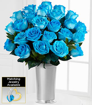 Floral Jewels™ December Blue Topaz Birthstone Bouquet - 24 Stems - VASE INCLUDED