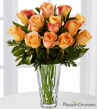 Passion™ for Gratitude Rose Bouquet - 12 Stems of 20-inch Roses - VASE INCLUDED