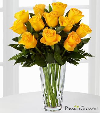 Passion™ for Happiness Rose Bouquet - 12 Stems of 20-inch Roses - VASE INCLUDED
