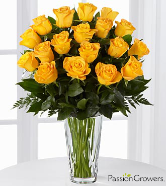 Passion for Happiness Rose Bouquet - 18 Stems of 20-inch Roses - VASE INCLUDED