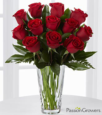Passion™ for Romance Rose Bouquet - 12 Stems of 20-inch Roses - VASE INCLUDED