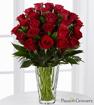 Passion™ for Romance Rose Bouquet - 24 Stems of 20-inch Roses - VASE INCLUDED