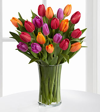 Autumn Jewels Bouquet - 20 Tulips- VASE INCLUDED