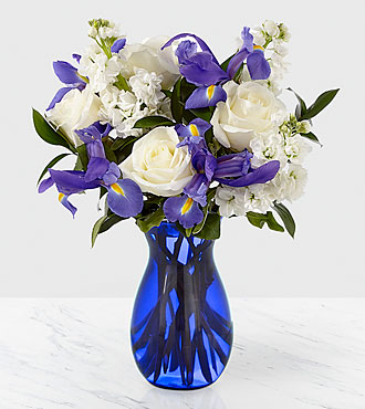 Whispers of Grace Sympathy Bouquet - Blue & White