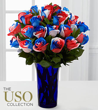 Perfect Patriot Fiesta Rose Bouquet - BLUE VASE INCLUDED