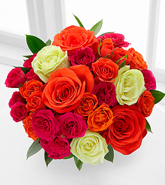 Summer Sunrise Rose Bouquet - 12 Stems, No Vase