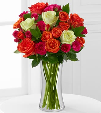 Summer Sunrise Rose Bouquet - 12 Stems - VASE INCLUDED