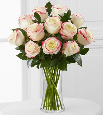 Pretty in Pink Rose Bouquet - 12 Roses - VASE INCLUDED