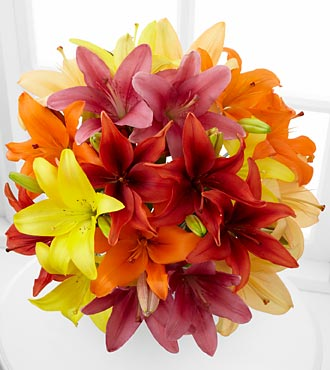 Sunsplash Sweetness Asiatic Lily Bouquet - 10 Stems - No Vase