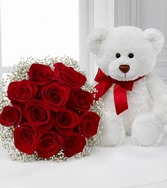 Long Stem Red Roses with Bear - 12 Stems, No Vase