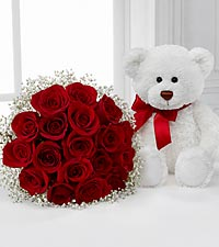 Long Stem Red Roses with Bear - 18 Stems, No Vase
