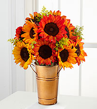 Catch Some Color Fall Sunflower Bouquet - 11 Stems - COPPER COLORED METAL BUCKET VASE INCLUDED