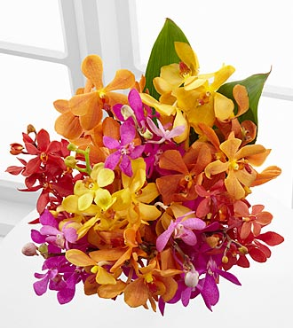 The FTD® Pick Me Up® Bring on the Brights Mokara Orchid Bouquet - 10 Stems, No Vase