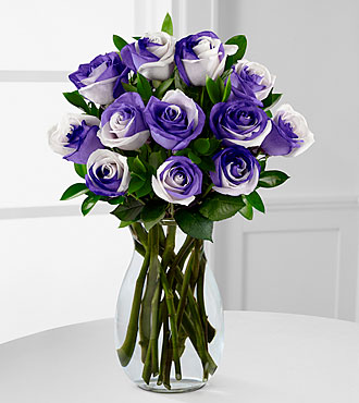 Lilac Inspirations Rainbow Rose Bouquet - 12 Stems - VASE INCLUDED