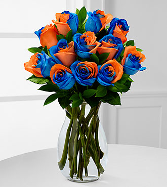 Blazing New Trails Rainbow Rose Bouquet - 12 Stems - VASE INCLUDED