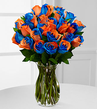 Blazing New Trails Rainbow Rose Bouquet 24 Stems Vase