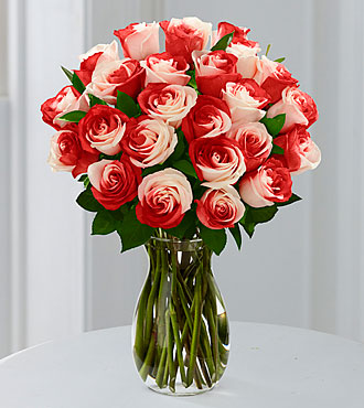 You Are Loved Rainbow Rose Bouquet - 24 Stems - VASE INCLUDED