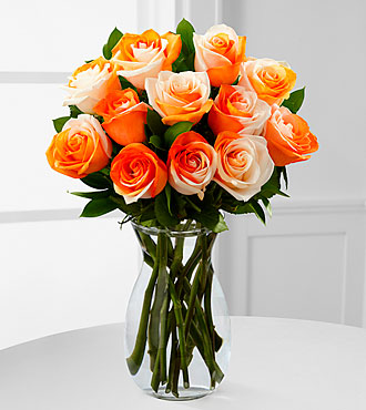 Orange Dreamsicle Rainbow Rose Bouquet - 12 Stems - VASE INCLUDED