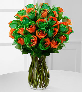 Citrus Sensation Rainbow Rose Bouquet - 24 Stems - VASE INCLUDED