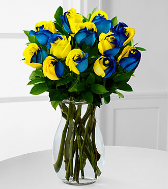 Painted Mornings Rainbow Rose Bouquet - 12 Stems - VASE INCLUDED