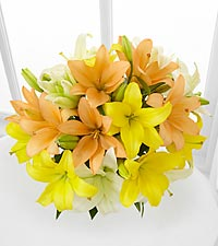 Sunny Days Ahead Asiatic Lily Bouquet - 9 Stems - No Vase