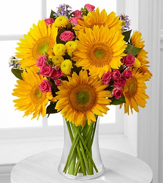Dazzling Days Sunflower Bouquet - VASE INCLUDED