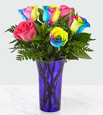 Time to Celebrate Rainbow Rose Bouquet - 6 Stems - VASE INCLUDED