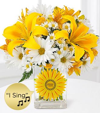 Sunshine Roads Singing Bouquet - VASE & SINGING DAISY INCLUDED