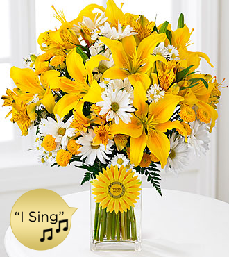Sunshine Roads Singing Bouquet - VASE & SINGING DAISY INCLUDED