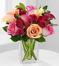 Colors of Love Rose & Calla Lily Bouquet - VASE INCLUDED