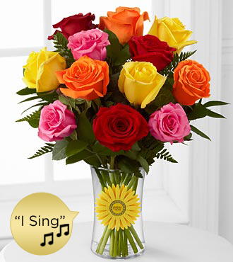 Happy Days Ahead Singing Rose Bouquet - VASE & SINGING DAISY INCLUDED