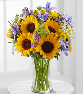 Meant to Shine Sunflower & Iris Bouquet - VASE INCLUDED