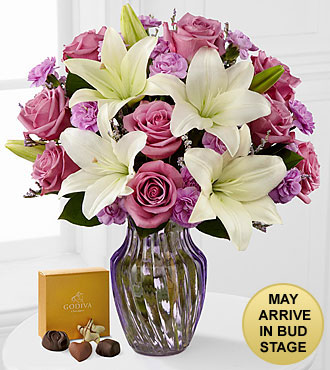 Lavender Twilight Mixed Flower Bouquet with Godiva® Chocolates - VASE INCLUDED