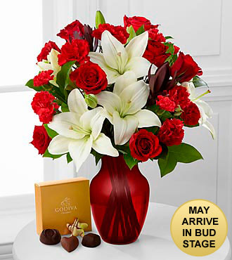 Hearts in Harmony Mixed Flower Bouquet with Godiva® - VASE INCLUDED